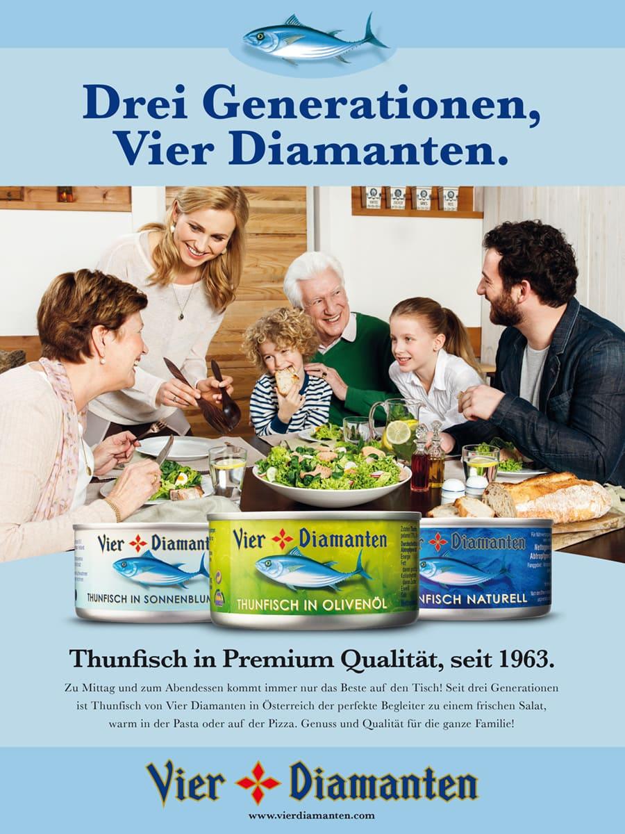 Familie isst 4 Diamanten Thunfisch