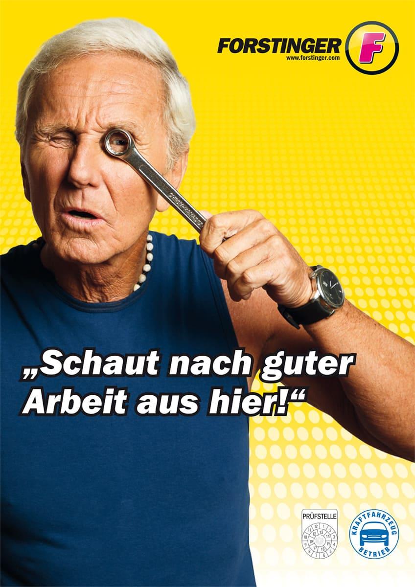 Werbung Forstinger Klaus Eberhartinger EAV mit Schraubenschlüssel