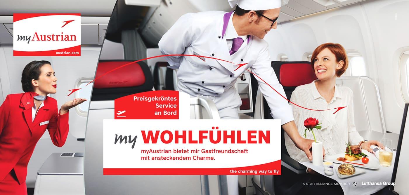 Austrian Airlines Werbung Koch serviert