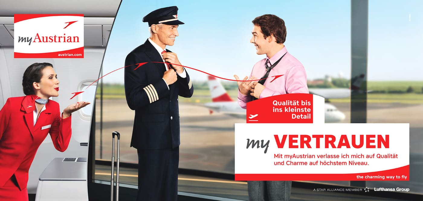 Austrian Airlines Werbung Pilot